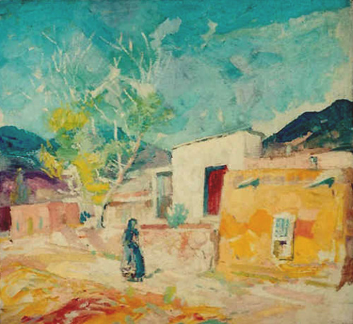 Krehbiel painting of Santa Fe, New Mexico